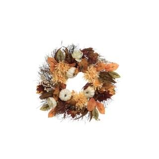 """24"""" White Pumpkin Wreath"""