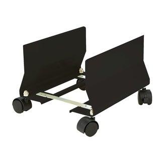 Mind Reader Metal CPU Holder with Wheels, Adjustable Width Mobile Stand, Lockable Wheels, Black