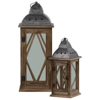 UTC31448: Wood Square Lantern Diamond and Glass Design Body Set of Two Natural Finish Brown