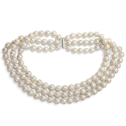"""DaVonna Sterling Silver 3-rows 10-12mm White Off-shape Freshwater Cultured Pearl Necklace, 18"""""""