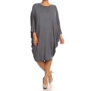 Women's Basic Solid Mid Length Dress wit Draped Sides