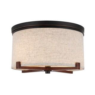 Woodbridge Lighting 13432MEB-S Brendan Bronze Metal Fabric Energy Saving Flushmount Fixture