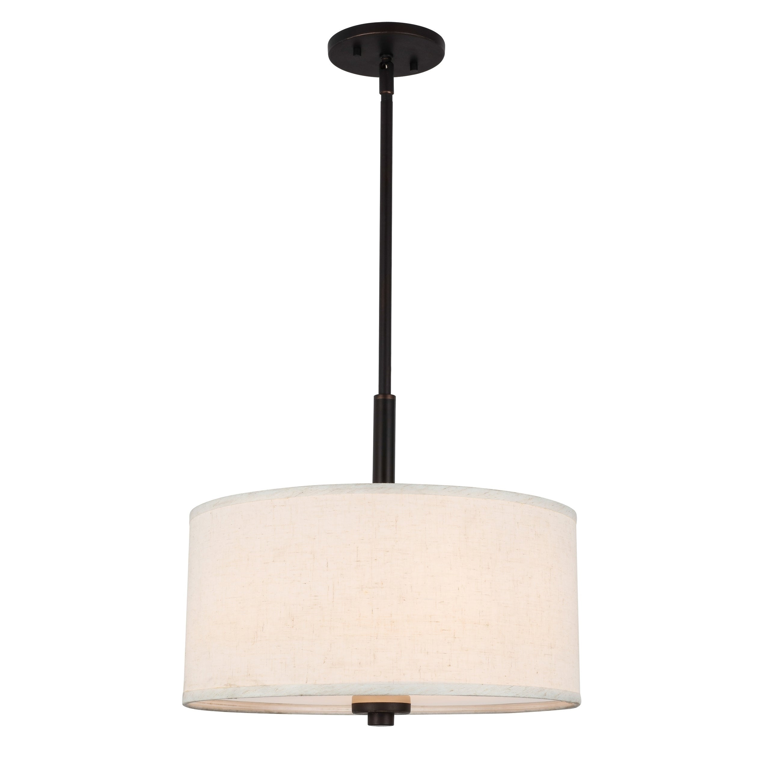 Details About Woodbridge Lighting Bronze Finish Pendant With White Fabric Drum Shade
