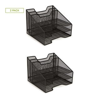 Mind Reader Mesh Desk Organizer 5 Trays Desktop Document Letter Tray for Folders, Mail, Desk Accessories, 2 Pack, Black