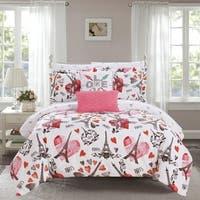 "Chic Home Marais 9 Piece Reversible ""Paris Is Love"" Inspired Print Comforter Set"