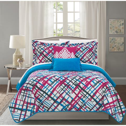 Chic Home Shane 5 Piece Reversible Quilt Set Abstract Print Design