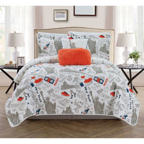 Chic Home Bay Park 5 Piece Reversible Quilt Set Bay Park City Design