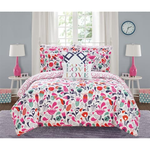 Chic Home Audley 9 Piece Reversible Colorful Floral Print Comforter Set