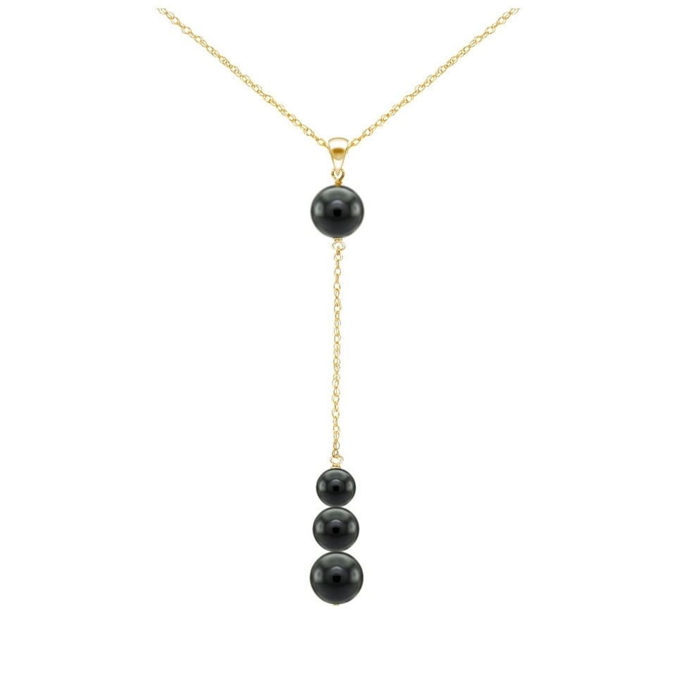 14K Yellow Gold Necklace Gemstone With Round Shaped Black Onyx 18 Inches