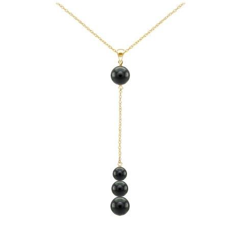 DaVonna 14k Yellow Gold Graduated Black Onyx Gemstones Pendant Necklace 18 inches