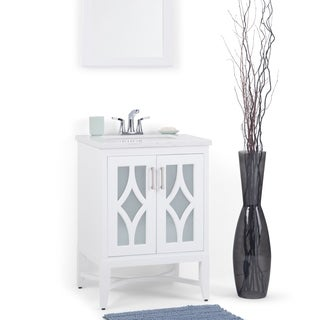 WYNDENHALL Henry 24 inch Bath Vanity with Extra Thick Carrara Style White Engineered Marble Top