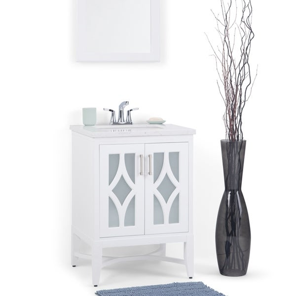 Shop Wyndenhall Henry 24 Inch Bath Vanity With Extra Thick Carrara Style White Engineered Marble