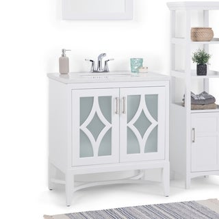 WYNDENHALL Henry 30 inch Bath Vanity with Carrara White Top