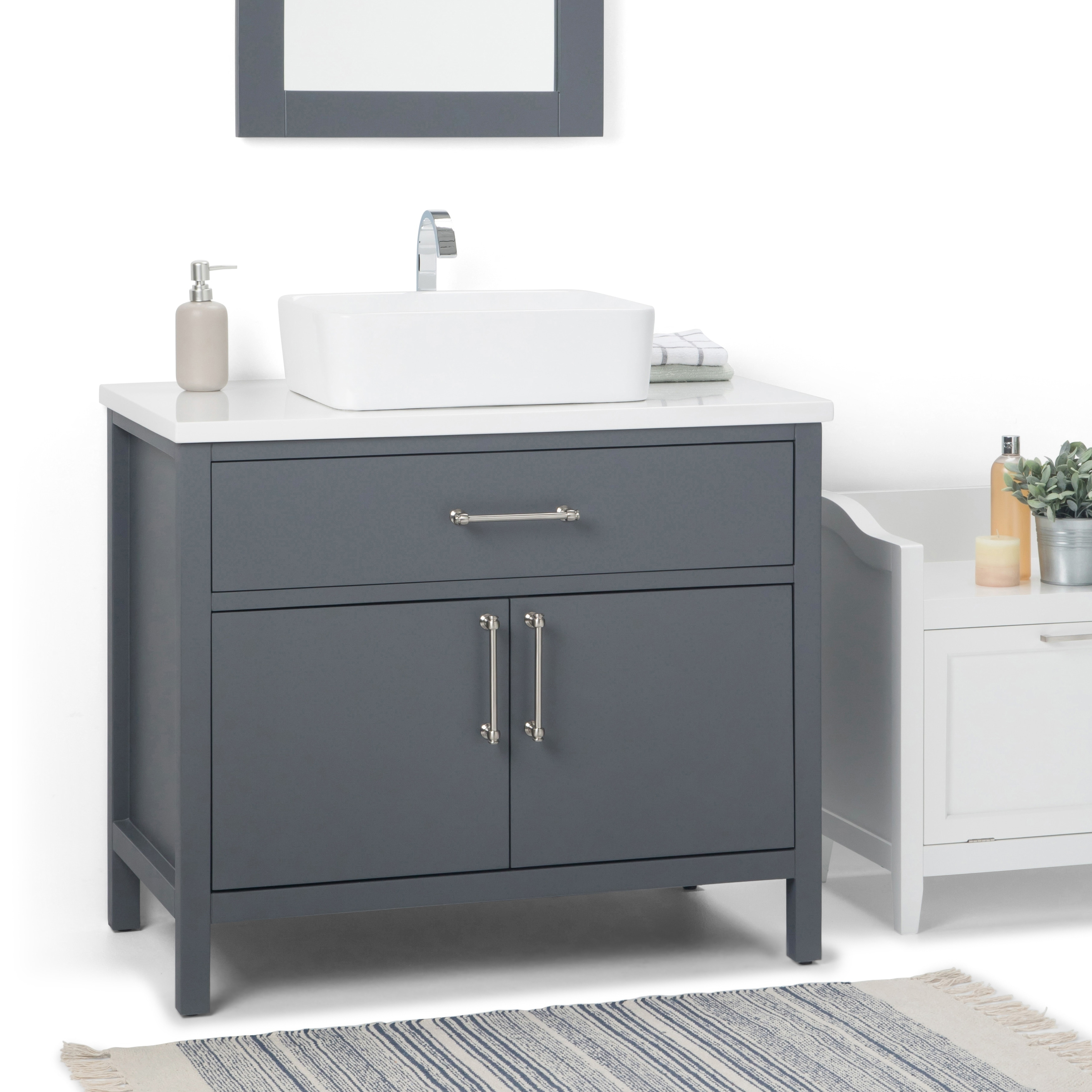 Wyndenhall Farley 36 Inch Contemporary Bath Vanity In Charcoal Grey With White Engineered Marble Extra Thick Top Overstock 22736250