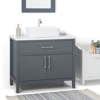 WYNDENHALL Farley 36 inch Contemporary Bath Vanity in Charcoal Grey with White Engineered Marble Extra Thick Top