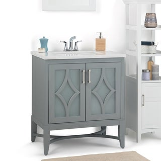 WYNDENHALL Henry 30 inch Contemporary Bath Vanity in Stone Grey with Carrara White Engineered Marble Extra Thick Top