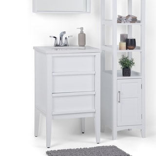 WYNDENHALL Dustin 20 inch Modern Bath Vanity in White with White Veined Engineered Marble Extra Thick Top