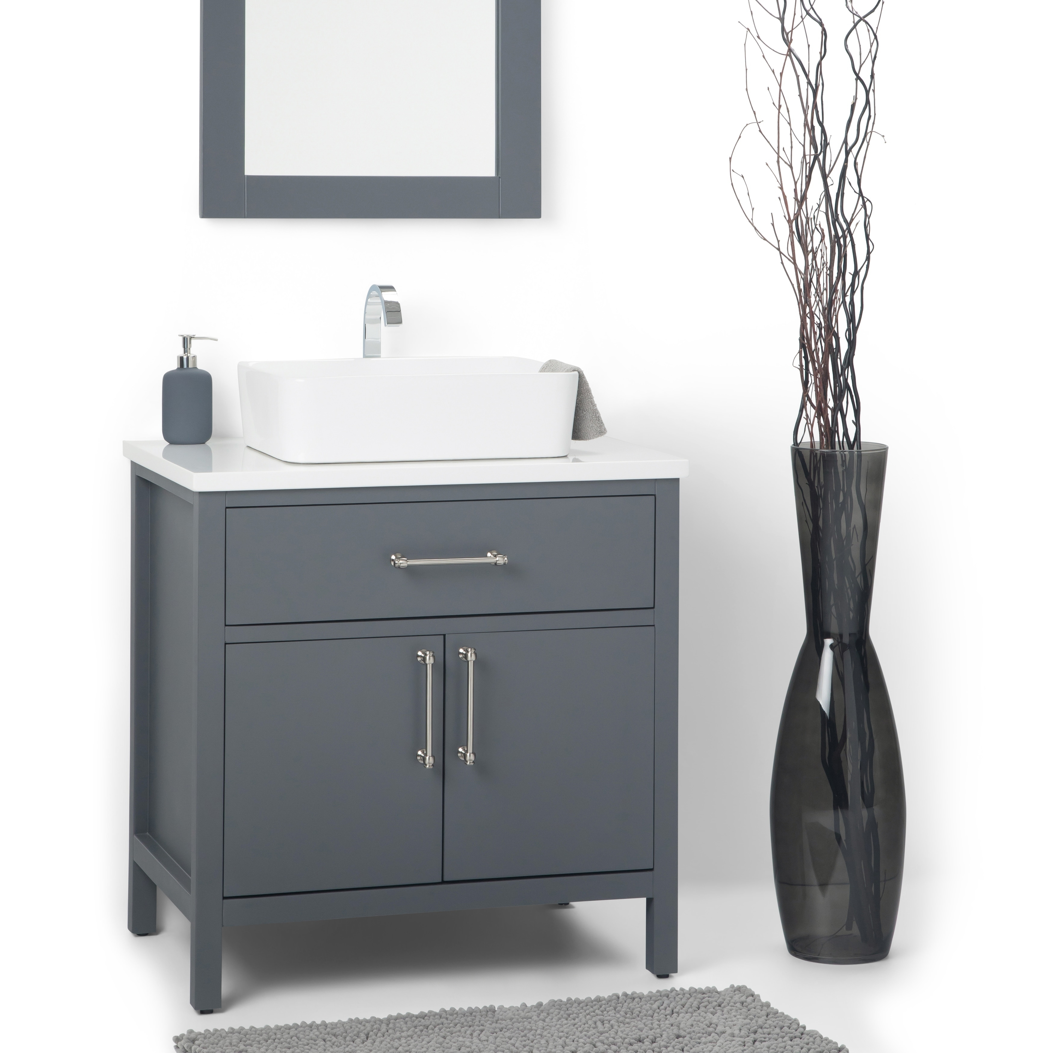 Wyndenhall Farley 30 Inch Contemporary Bath Vanity In Charcoal Grey With White Engineered Marble Extra Thick Top On Sale Overstock 22736260
