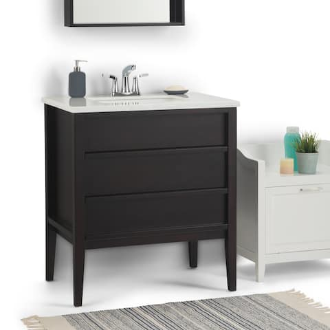 WYNDENHALL Dustin 30 inch Modern Bath Vanity in Dark Walnut with White Veined Engineered Marble Extra Thick Top
