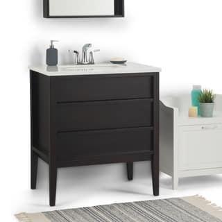 WYNDENHALL Dustin 30 inch Modern Bath Vanity with Extra Thick White Veined Light Grey Engineered Marble
