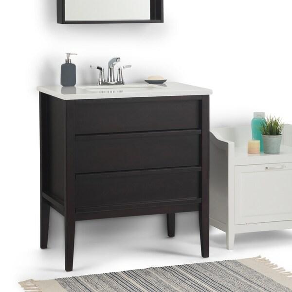 WYNDENHALL Dustin 30 inch Modern Bath Vanity in Dark Walnut with White Veined Engineered Marble Extra Thick Top