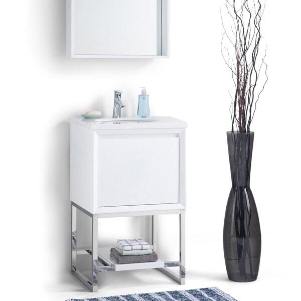 Gray White Veined Marble Bathrooms: Shop WYNDENHALL Adrik 20 Inch Modern Bath Vanity With
