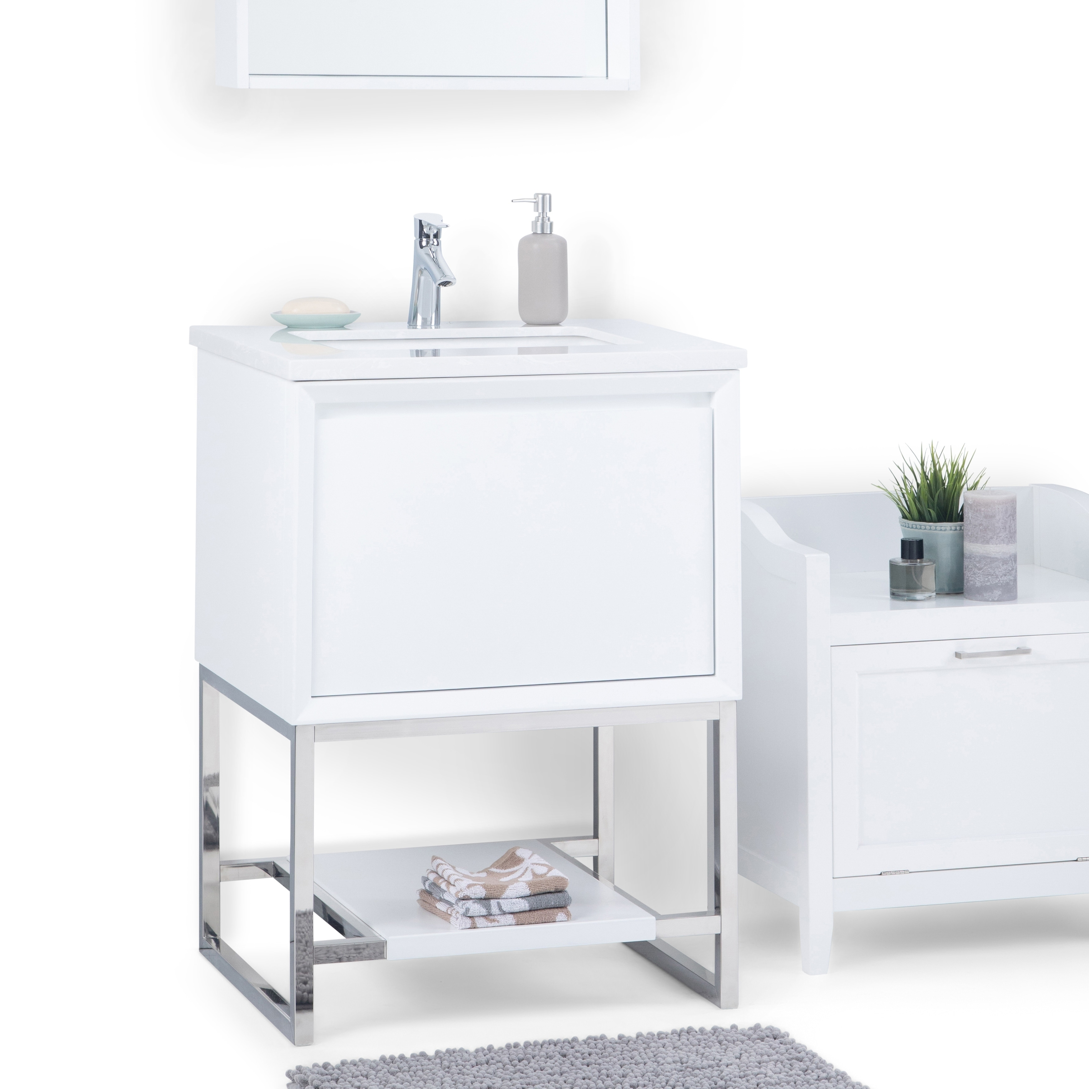 Wyndenhall Adrik 24 Inch Modern Bath Vanity In White With Marbled Engineered Marble Extra Thick Top