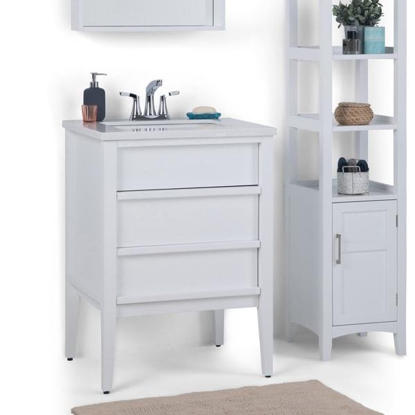 Gray White Veined Marble Bathrooms: Shop WYNDENHALL Dustin 24 Inch Modern Bath Vanity With
