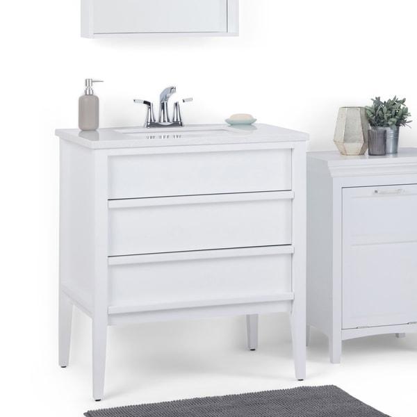 Gray White Veined Marble Bathrooms: Shop WYNDENHALL Dustin 30 Inch Modern Bath Vanity With
