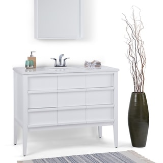 WYNDENHALL Dustin 42 inch Modern Bath Vanity in White with White Veined Engineered Marble Extra Thick Top