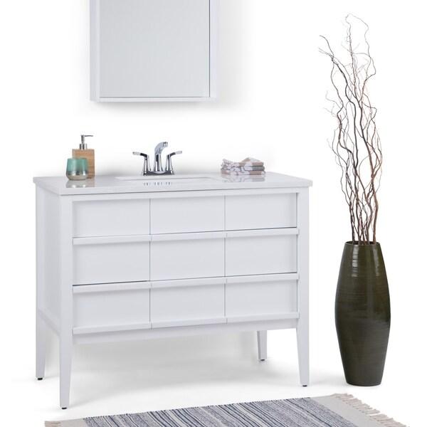 Wyndenhall Russo 42 Inch Bath Vanity With White Veined Top