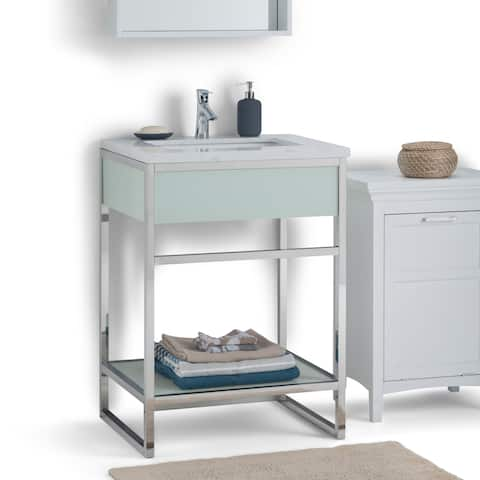 WYNDENHALL Effron 24 inch Modern Bath Vanity in Chrome with White Engineered Marble Extra Thick Top