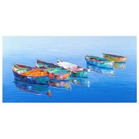 Five Boats Blue by Edward Park Wrapped Canvas Painting Art Print
