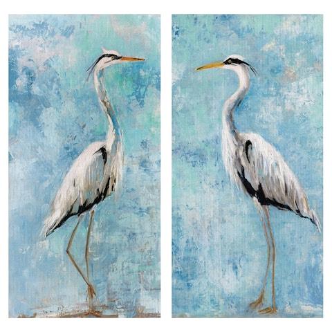 Heron I & II by Sally Swatland Wrapped Canvas Art Painting Print Set