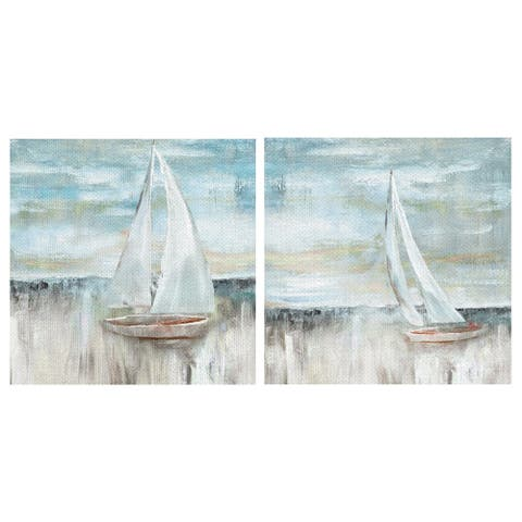 Soft Coastal Sail I & II by Nan Wrapped Canvas Art Painting Print Set