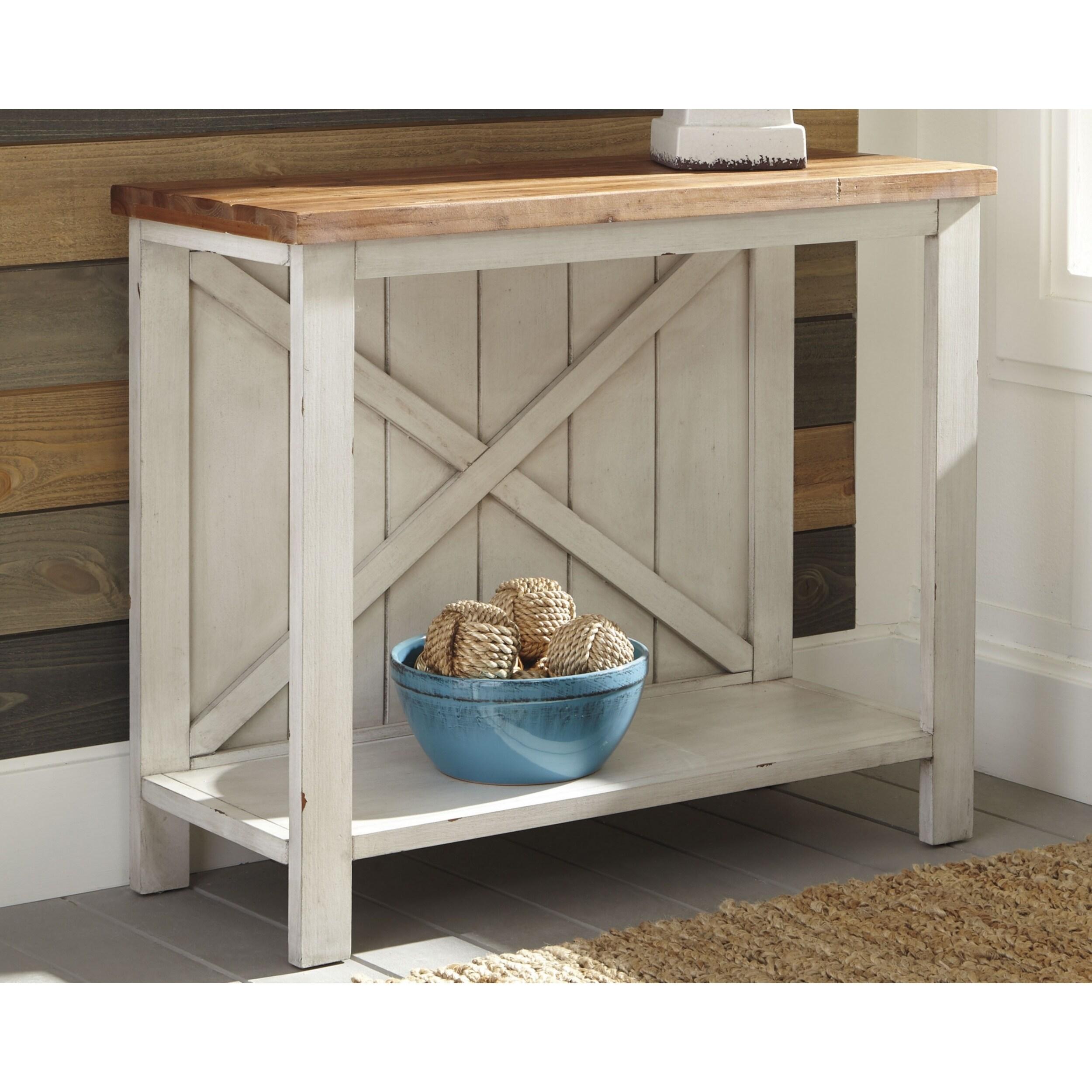 Awesome Abramsland White Brown Farmhouse Console Sofa Table Spiritservingveterans Wood Chair Design Ideas Spiritservingveteransorg