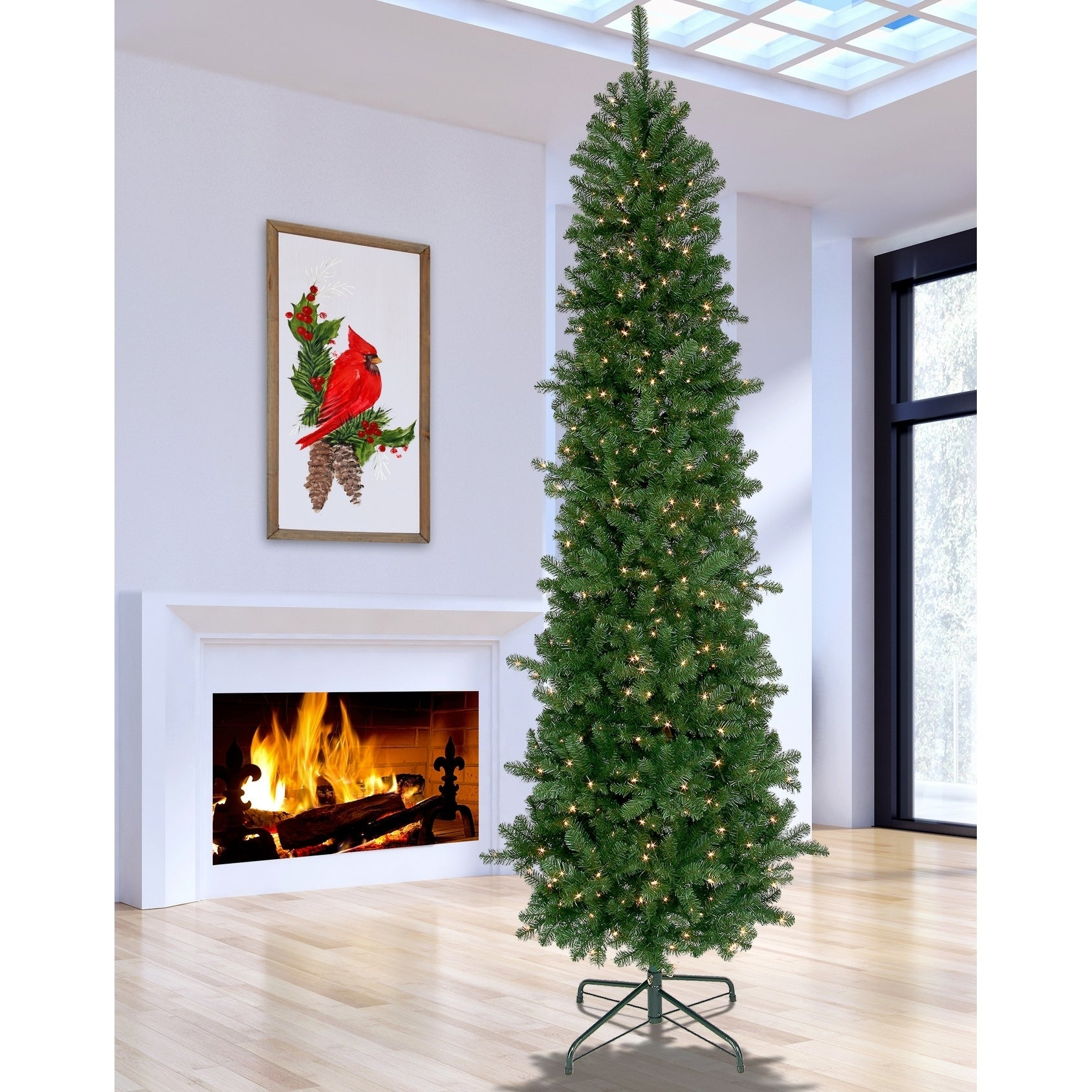 Tall Skinny Christmas Tree Silhouette.9 Ft Pre Lit Hudson Valley Pencil Tree