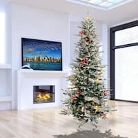 Pre-Lit 7.5 Ft. Slim Flocked Vail Tree