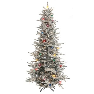 Pre-Lit 7.5 Ft. Slim Flocked Vail Tree with G40 Multi-lights