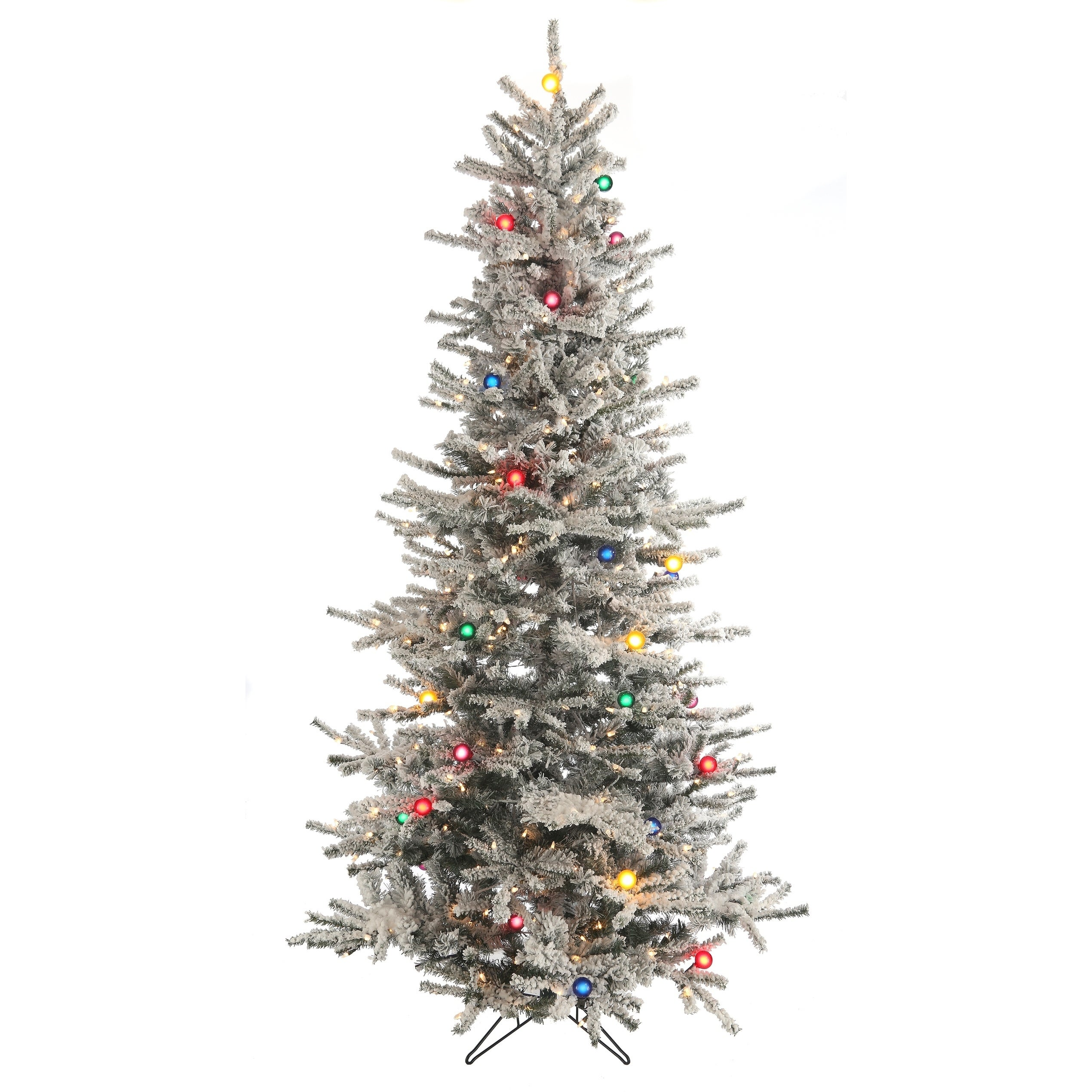 Slim Flocked Christmas Tree With Lights.Pre Lit 7 5 Ft Slim Flocked Vail Tree With G40 Multi Lights