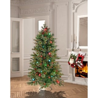 5 Ft. Cottonwood Tree Pre-Lit With Twinkle + G40 Bulbs - 5 foot