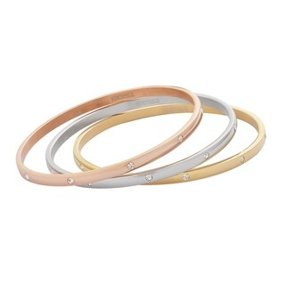 Edforce Stainless Steel Tri-Color Sleek Bangles with 10 Stones in a Set of 3