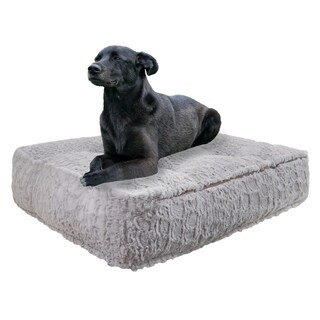 Bessie & Barnie Serenity Grey Ultra Plush Faux Fur Luxury Durable Sicilian Rectangle Pet/Dog Bed