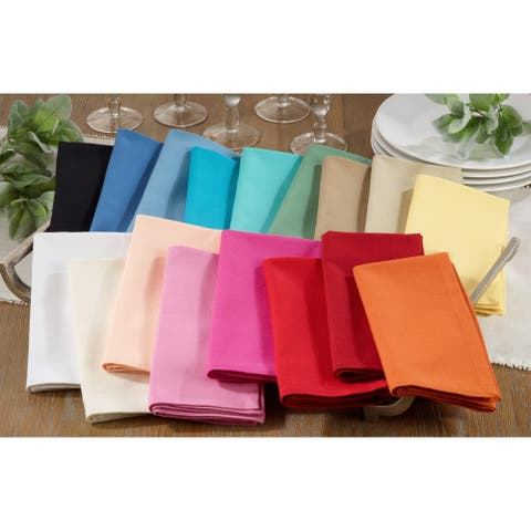 100% Cotton Square Dinner Napkins in Solid Colors (Set of 12)