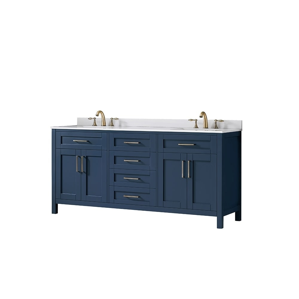 the best attitude b7266 10f89 OVE Decors Tahoe 72 in Midnight Blue Double Sink Vanity with White Cultured  Marble Top and Mirrors - Midnight Blue