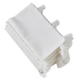 White Cotton Napkins With White Tassel Design (Set of 4)