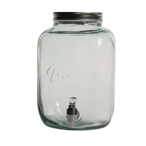 11L Mason Glass Drink Dispenser W/Metal Lid