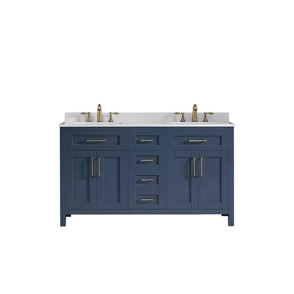 Shop Ove Decors Tahoe 60 In Midnight Blue Double Sink