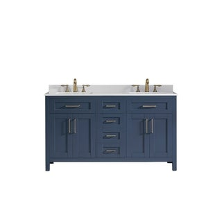OVE Decors Tahoe 60 in Midnight Blue Double Sink Vanity with White Top and Mirrors