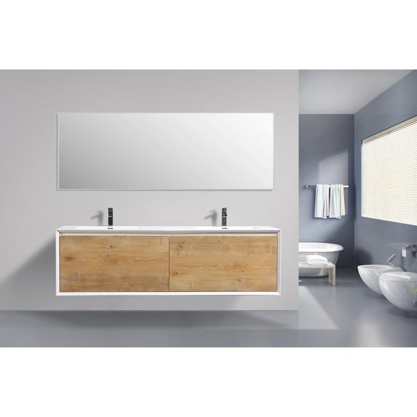 Moreno Bath Flores 75 Inch Wall Mounted Modern Bathroom Vanity With Reinforced Acrylic Double Sink